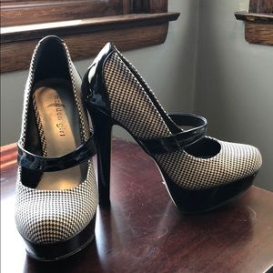 Madden Girl Houndstooth and Patent Leather Pumps